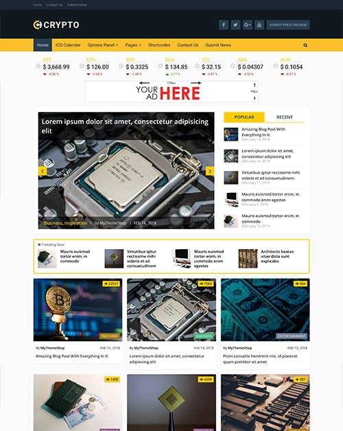 Crypto – A Bitcoin & Cryptocurrency WordPress Theme