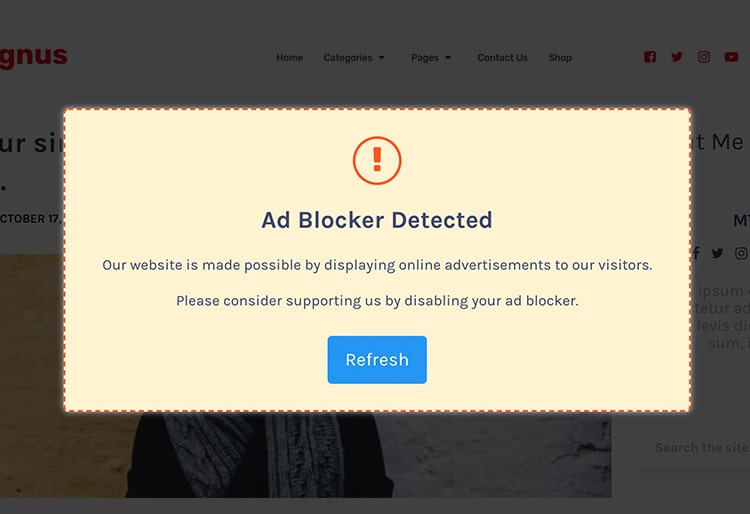 Detects Ad-Blocker