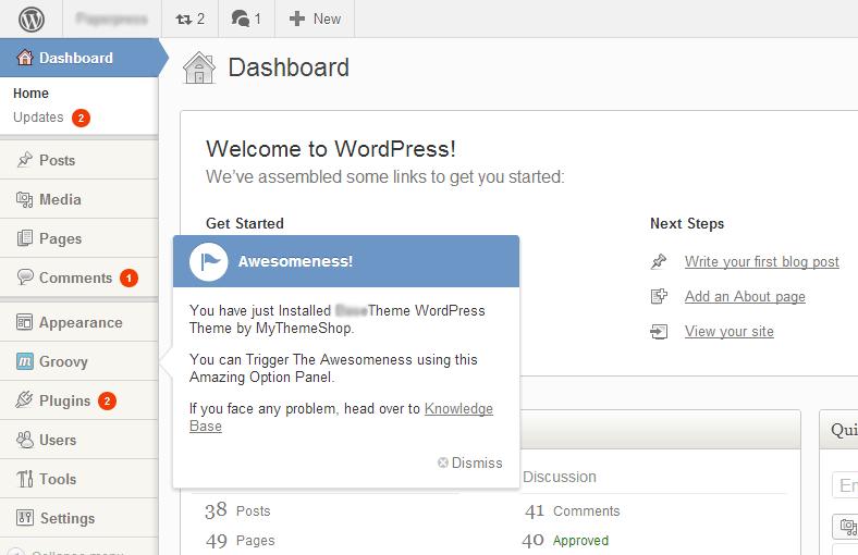 MyThemeShop Dashboard Design