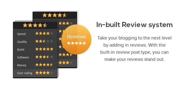 Take your blogging to the next level by adding in reviews. With the built-in review post type, you can make your reviews stand out.