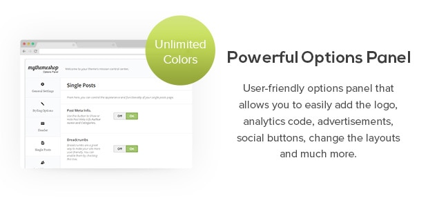 User-friendly options panel that allows you to easily add the logo, analytics code, advertisements, social buttons, change the layouts and much more.