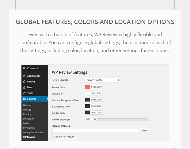 Global Features, Colors and Location options