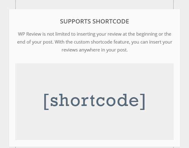 Supports Shortcode
