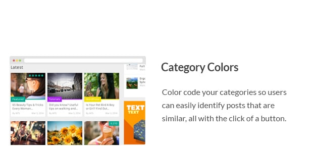 Color code your categories so users can easily identify posts that are similar, all with the click of a button.