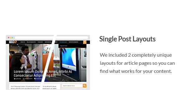 We included 2 completely unique layouts for article pages so you can find what works for your content.