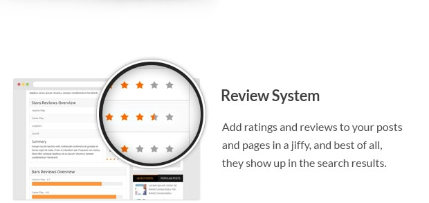 Add ratings and reviews to your posts and pages in a jiffy, and best of all, they show up in the search results.