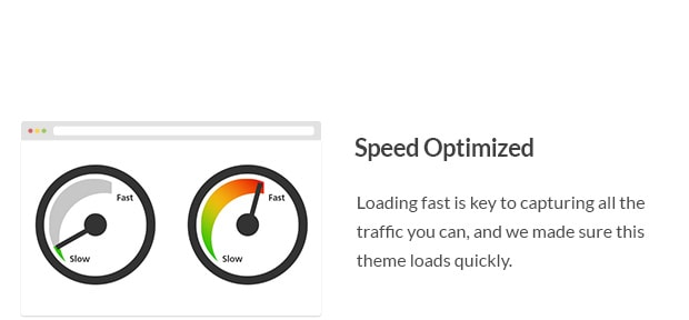 Loading fast is key to capturing all the traffic you can, and we made sure this theme loads quickly.