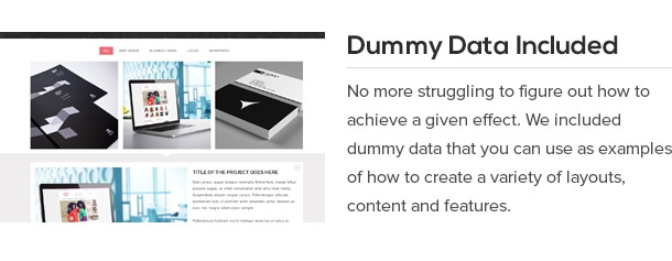 No more struggling to figure out how to achieve a given effect. We included dummy data that you can use as examples of how to create a variety of layouts, content and features.