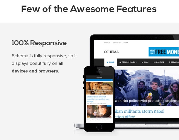 Schema is fully responsive, so it displays beautifully on all devices and browsers.