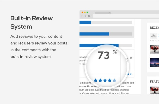Add reviews to your content and let users review your posts in the comments with the built in review system.