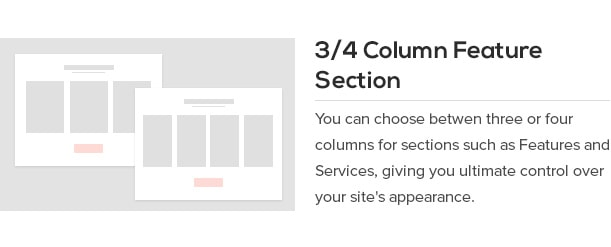 You can choose betwen three or four columns for sections such as Features and Services, giving you ultimate control over your site's appearance.