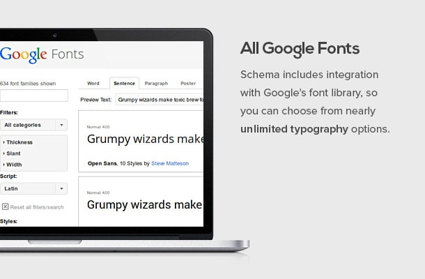 Scheme includes integration with Google's font library, so you can choose from nearly unlimited typography options.