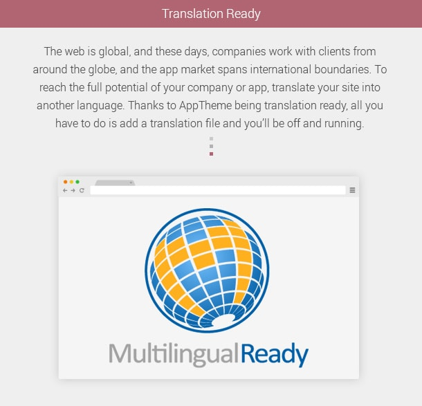 Translation-Ready ,the web is global, and these days, companies work with clients from around the globe, and the app market spans international boundaries. To reach the full potential of your company or app, translate your site into another language. Thanks to AppTheme being translation ready, all you have to do is add a translation file and you'll be off and running.