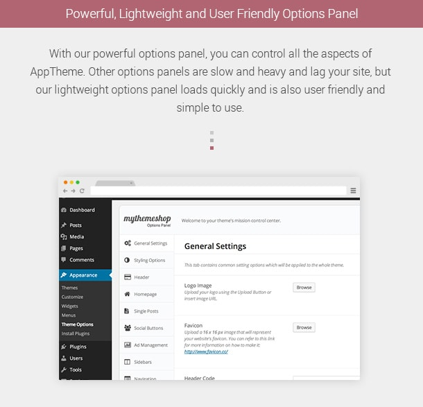 Powerful, Lightweight and User Friendly Options Panel. With our powerful options panel, you can control all the aspects of AppTheme. Other options panels are slow and heavy and lag your site, but our lightweight options panel loads quickly and is also user friendly and simple to use.