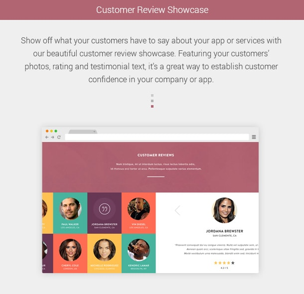 Customer Review Showcase. Show off what your customers have to say about your app or services with our beautiful customer review showcase. Featuring your customers' photos, rating and testimonial text, it's a great way to establish customer confidence in your company or app.