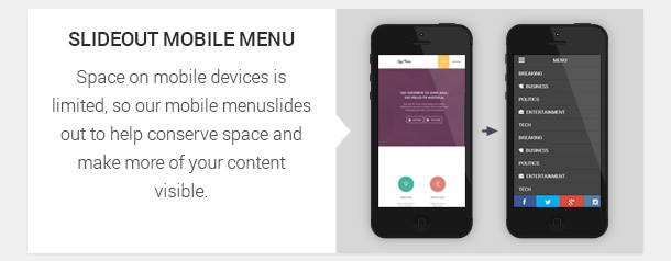 Space on mobile devices is limited, so our mobile menu slides out to help conserve space and make more of your content visible.