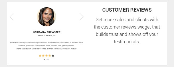 Get more sales and clients with the customer reviews widget that builds trust and shows off your testimonials.