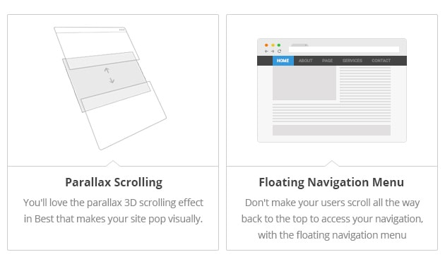 Parallax Scrolling - You'll love the parallax 3D scrolling effect in Best that makes your site pop visually. Floating Navigation Menu - Don't make your users scroll all the way back to the top to access your navigation, with the floating navigation menu included in Best.