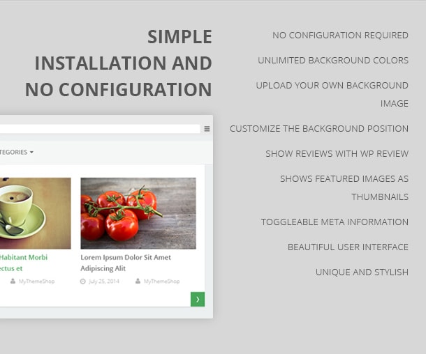 Simple Installation and No Configuration No configuration required Unlimited background colors Upload your own background image Customize the background position Show reviews with WP review Shows featured images as thumbnails Toggleable meta information Beautiful user interface Unique and stylish