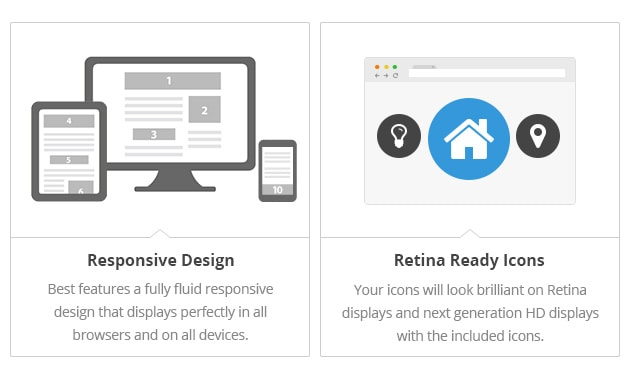 Responsive Design - Best features a fully fluid responsive design that displays perfectly in all browsers and on all devices. Retina Ready Icons - Your icons will look brilliant on Retina displays and next generation HD displays with the included icons.