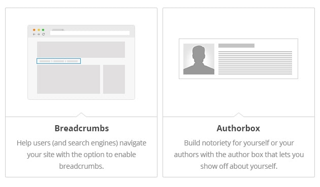 Breadcrumbs - Help users (and search engines) navigate your site with the option to enable breadcrumbs. Author Box - Build notoriety for yourself or your authors with the author box that lets you show off about yourself.