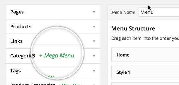 WP Mega Menu Plugin Settings