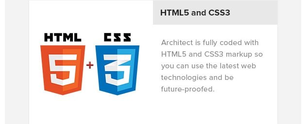 HTML5 and CSS3. Architect is fully coded with HTML5 and CSS3 markup so you can use the latest web technologies and be future-proofed.
