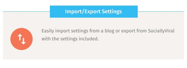 Easily import settings from a blog or export from SociallyViral with the settings included.