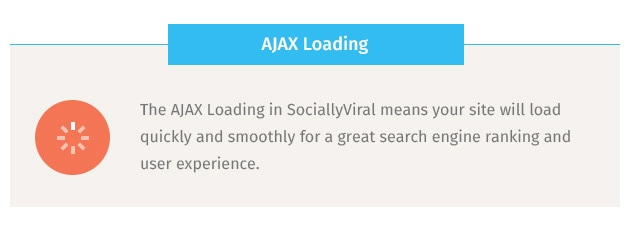 The AJAX Loading in SociallyViral means your site will load quickly and smoothly for a great search engine ranking and user experience.