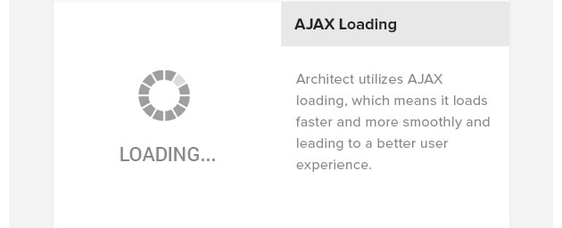 AJAX Loading. Architect utilizes AJAX loading, which means it loads faster and more smoothly and leading to a better user experience.