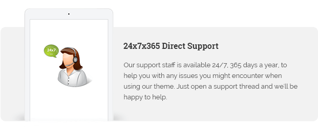 Our support staff is available 24/7, 365 days a year, to help you with any issues you might encounter when using our theme. Just open a support thread and we'll be happy to help.