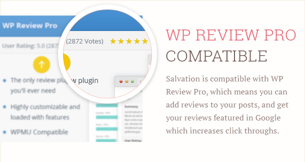 Salvation is compatible with WP Review Pro, which means you can add reviews to your posts, and get your reviews featured in Google which increases click throughs.