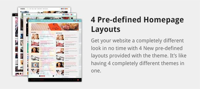 Get your website a completely different look in no time with 4 New pre-defined layouts provided with the theme. It's like having 4 completely different themes in one.