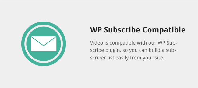Video is compatible with our WP Subscribe plugin, so you can build a subscriber list easily from your site.