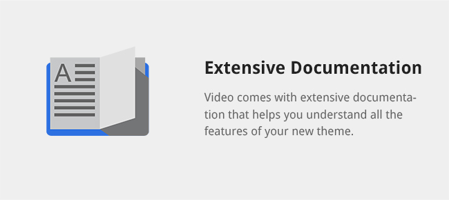 Video comes with extensive documentation that helps you understand all the features of your new theme.