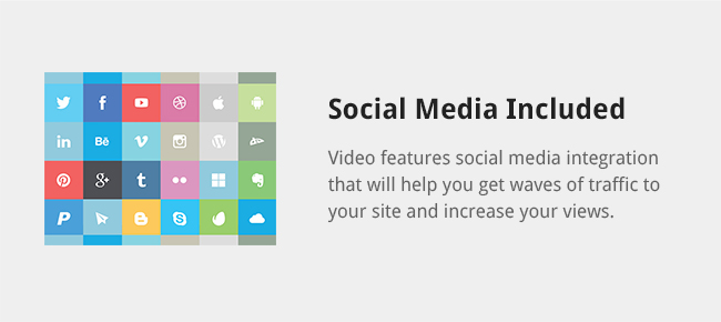 Video features social media integration that will help you get waves of traffic to your site and increase your views.