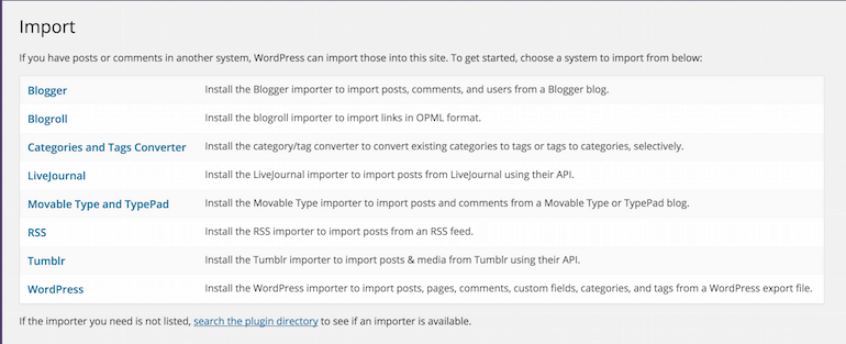 Import a blog to wordpress