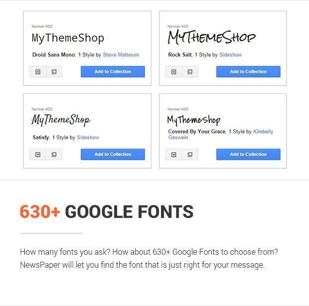 630+ Google Fonts