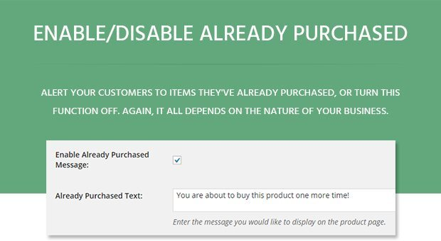 Enable Disable Already Purchased