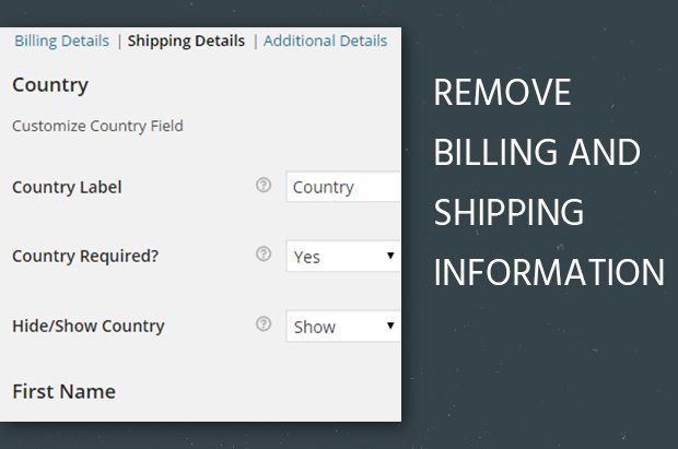 Remove Billing and Shipping Information