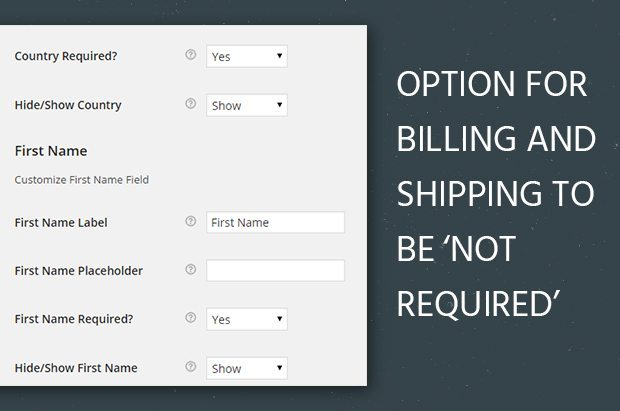 Option for Billing and Shipping to be 'Not Required'