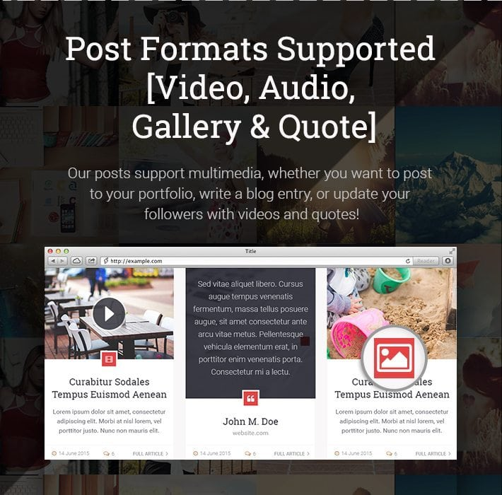 Post Formats Supported [Video Audi Gallery & Quote]