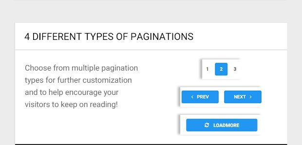 Choose from multiple pagination types for further customization and to help encourage your visitors to keep on reading!