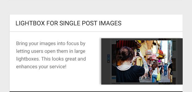 Bring your images into focus by letting users open them in large lightboxes. This looks great and enhances your service!