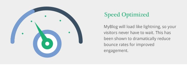 MyBlog will load like lightning, so your visitors never have to wait. This has been shown to dramatically reduce bounce rates for improved engagement.