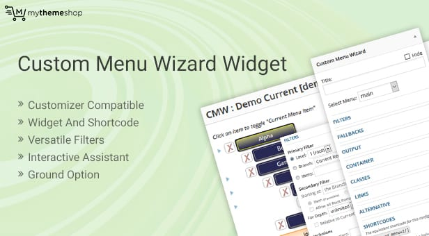 Custom Menu Wizard Widget