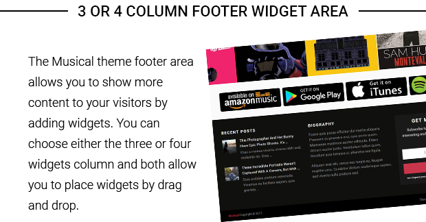 3 or 4 Column Footer Widget Area