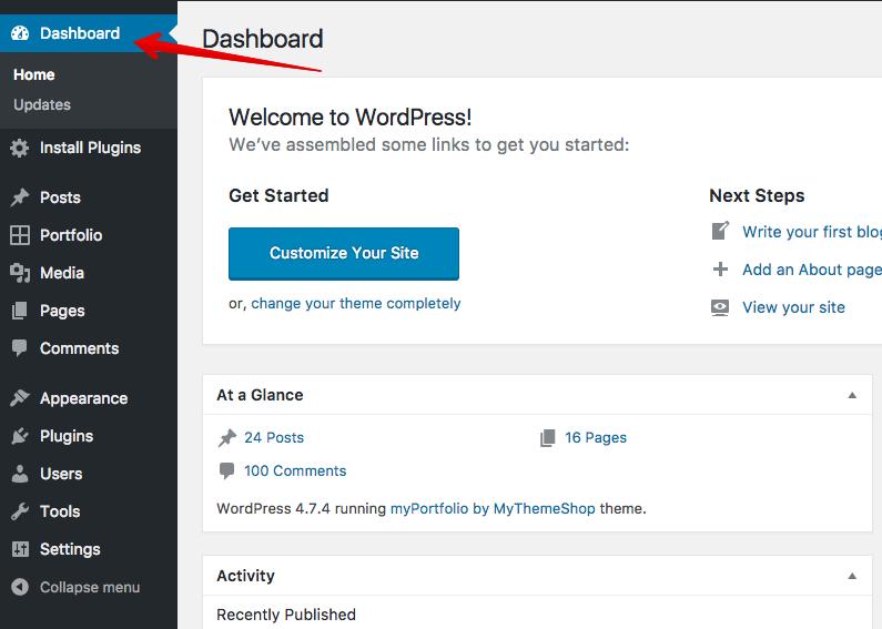 Go to the WordPress Dashboard