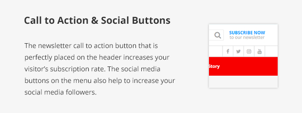 Call to Action & Social Buttons