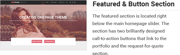 Featured and Button Section